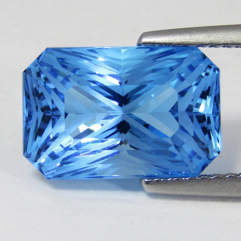7.34Cts Sparkling Natural Swiss Blue Topaz Fashion Radiant Cut Loose Gem