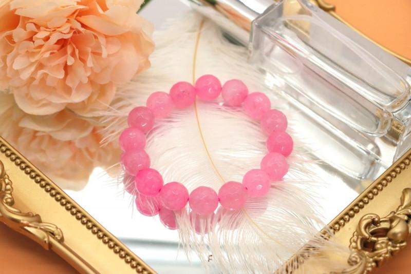 11.00mm 164.10Ct Natural Rose Pink Quartz Faceted Beads Bracelet EN142