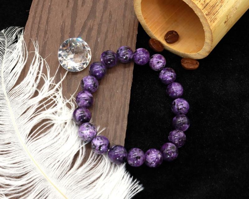 10.00mm 140.87Ct Natural Purple Jasper Beads Bracelet EN155