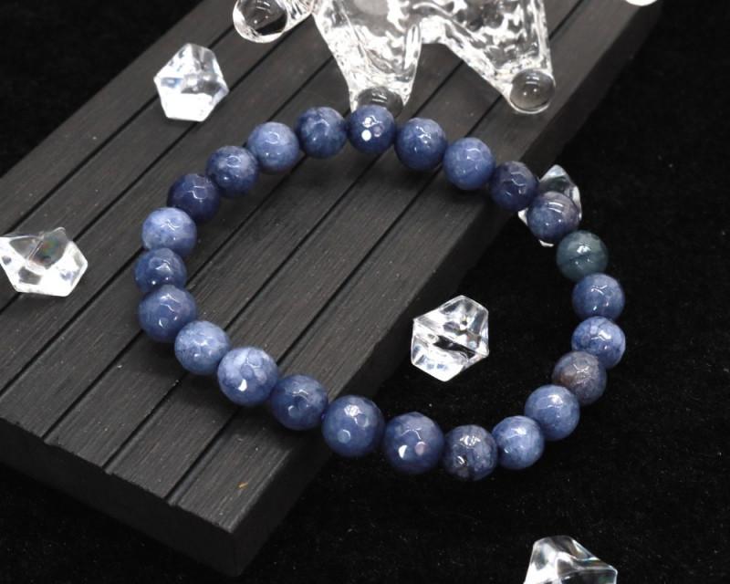 8.00mm 85.66Ct Natural Blue Jasper Faceted Beads Bracelet EN158