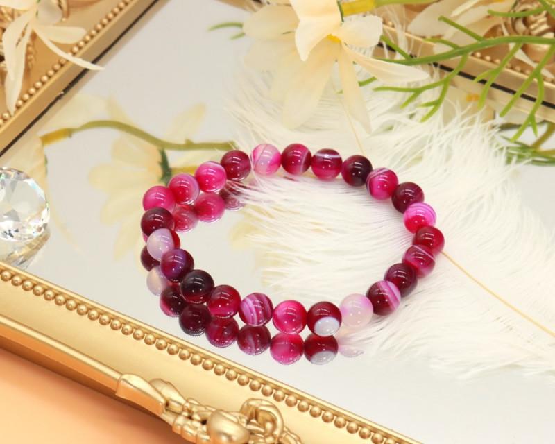 8.00mm 94.15Ct Natural  Purple Lace Agate  Beads Bracelet EN165
