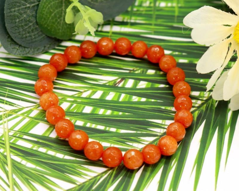 8.00mm 90.36Ct Natural Orange Jasper Faceted Beads Bracelet EN172