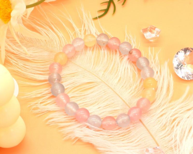 8.00mm 87.57Ct Natural Fancy Beryl  Beads Bracelet EN174