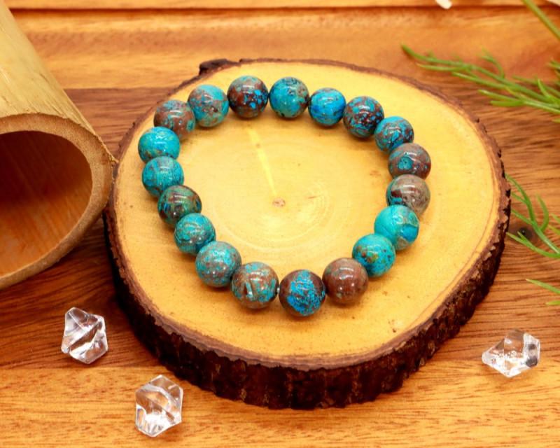 10.00mm 124.34Ct Natural  Tibetan Turquoise Beads Bracelet EN176