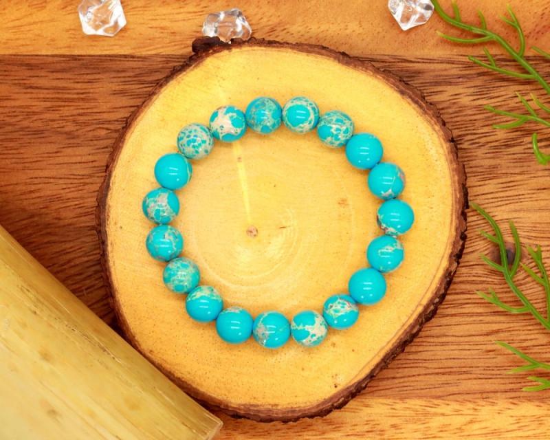 10.00mm 108.34Ct Natural Turquoise Blue Jasper Beads Bracelet EN177