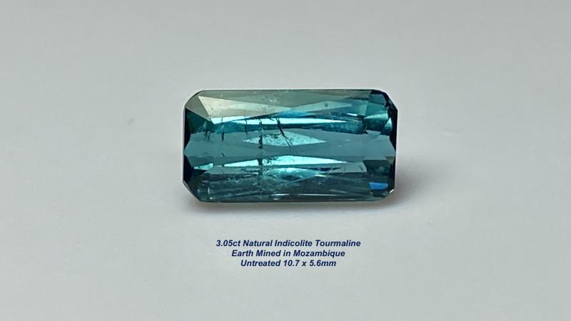 3.05ct Indicolite Tourmaline - Scissor-Cut /  Unheated / 10.7 x 5.6mm