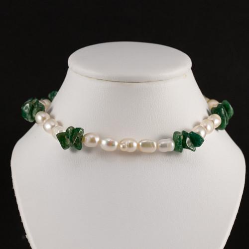 Pearl and Aventurine Gemstone Bead Necklace
