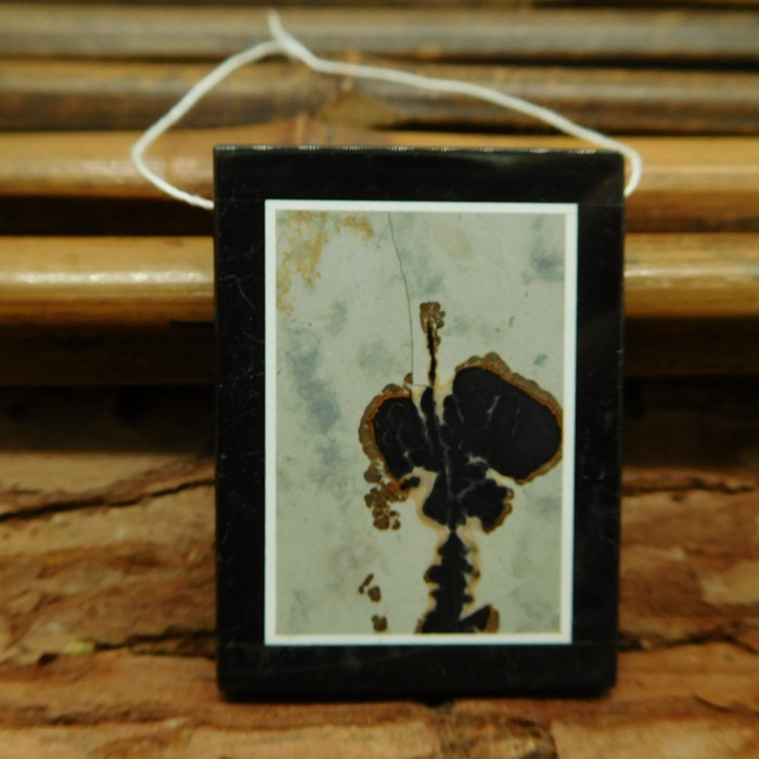 Natural gemstone chohua jasper and obsidian pendant (G3052)