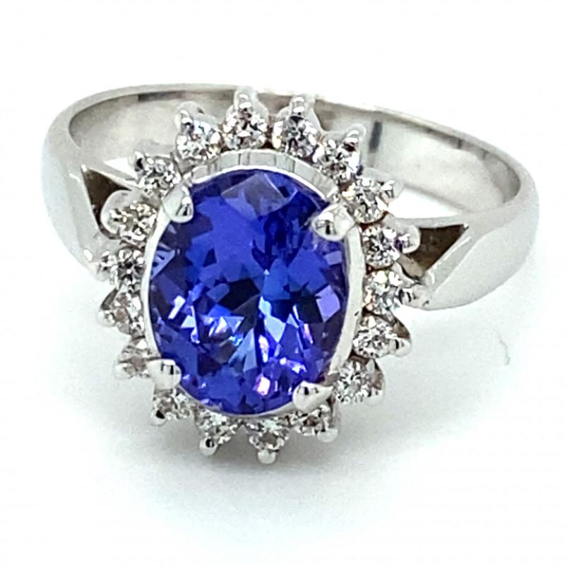 Tanzanite 3.55ct Natural Diamonds Solid 18K White Gold Ring