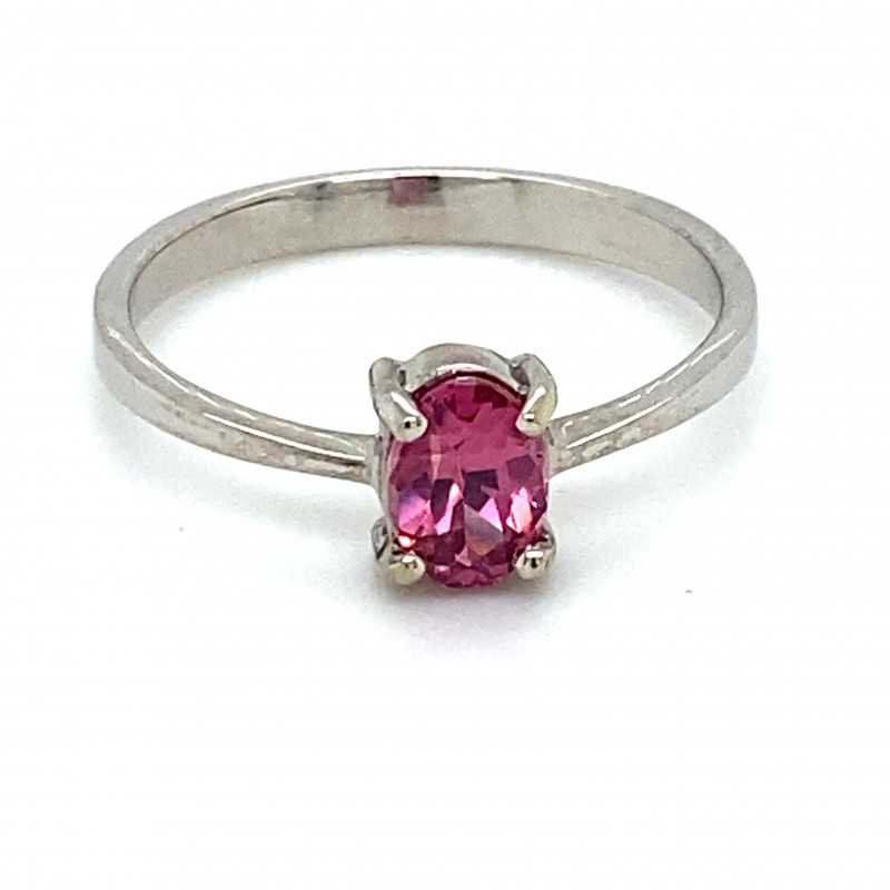 Red Purple Mahenge Spinel .87ct Solid 14K White Gold Ring