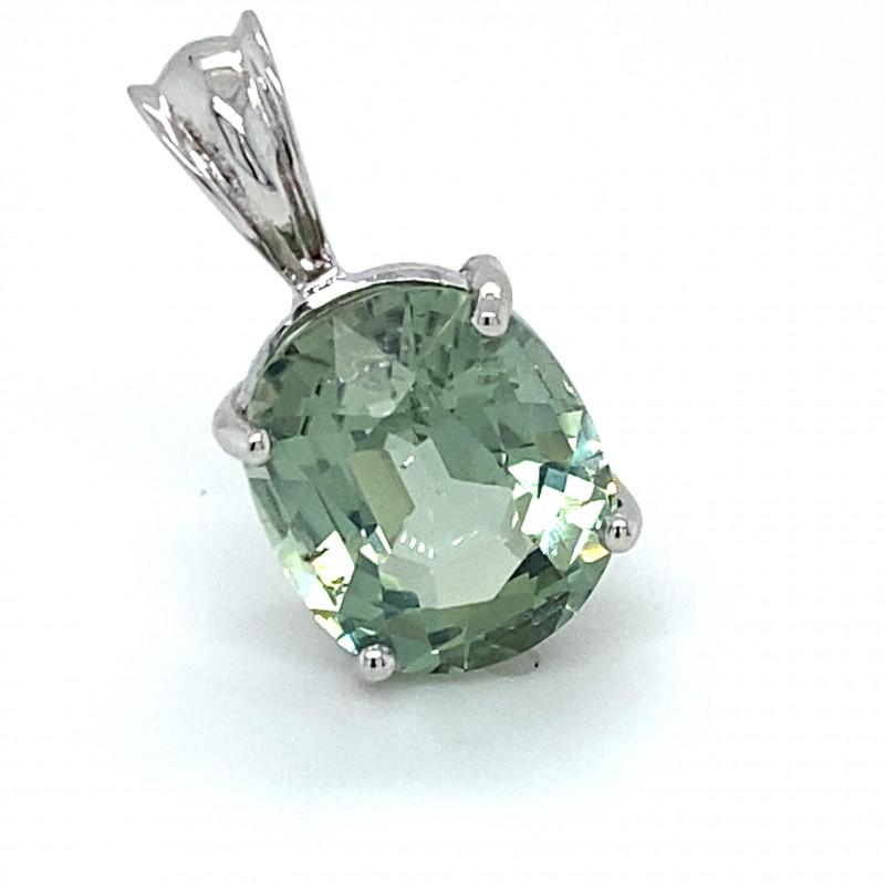 Mint Green Tourmaline 6.85ct Solid 14K White Gold Pendant