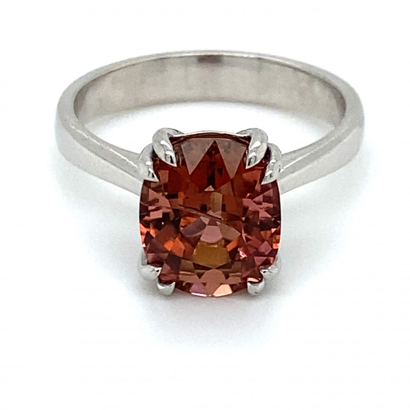 Rubellite 6.02ct Solid 14K White Gold Ring
