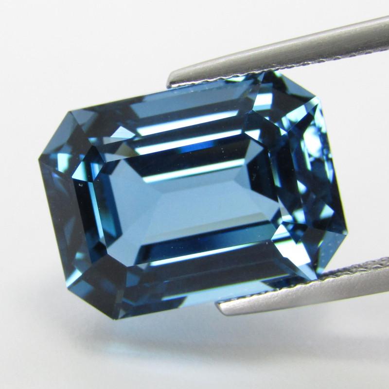 16.92Cts Sparkling Natural London Blue Topaz Emerald Cut Loose Gem