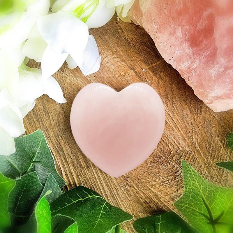 Rose Quartz 20mm Love Heart Shape 100% Natural Unheated Brazil Mine