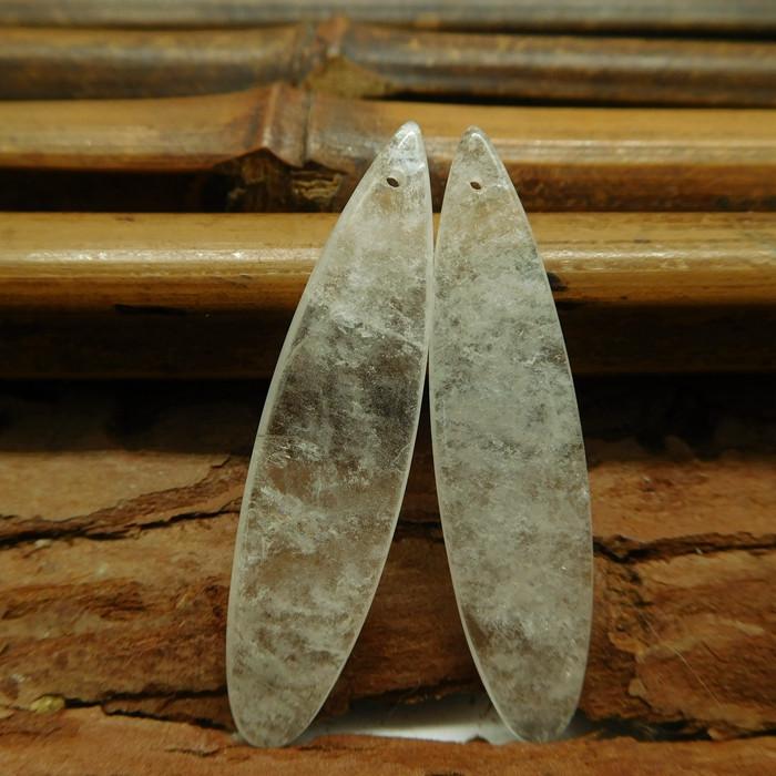 Clear quartz earring beads (G3088)