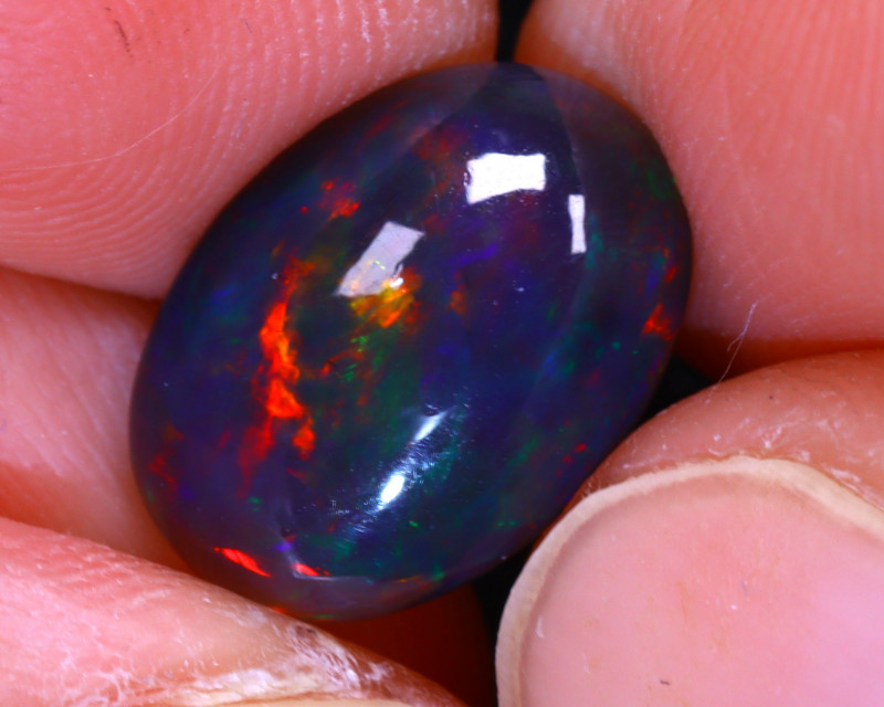 Welo Opal 2.55Ct Natural Ethiopian Smoked Play of Color Opal E0226/A3