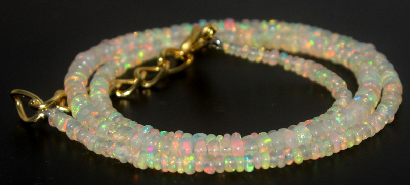 27.70 Crts Natural Welo Opal Beads Necklace 859