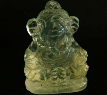 LEMON  QUARTZ  CARVING OF GANESHA  11.40 CTS  [MX 4713]