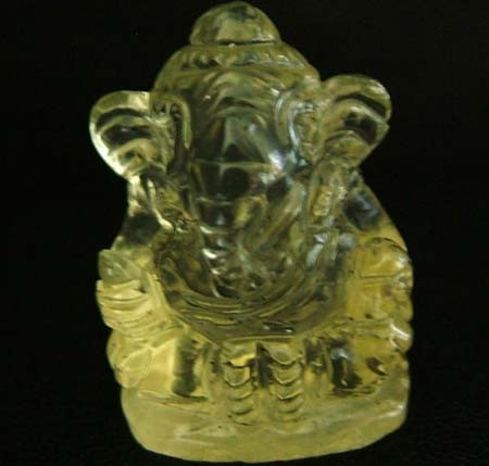 LEMON  QUARTZ  CARVING OF GANESHA  17.45 CTS  [MX 4715]