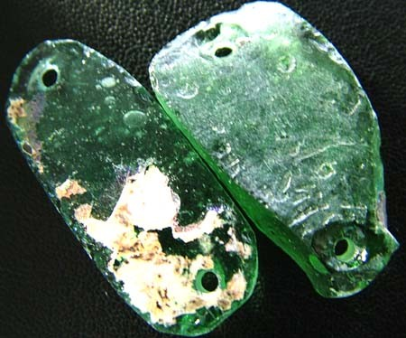 PAIR ANCIENT GLASS- AFGANISTAN-FACE DRILLED 24.50 CTS MX4766