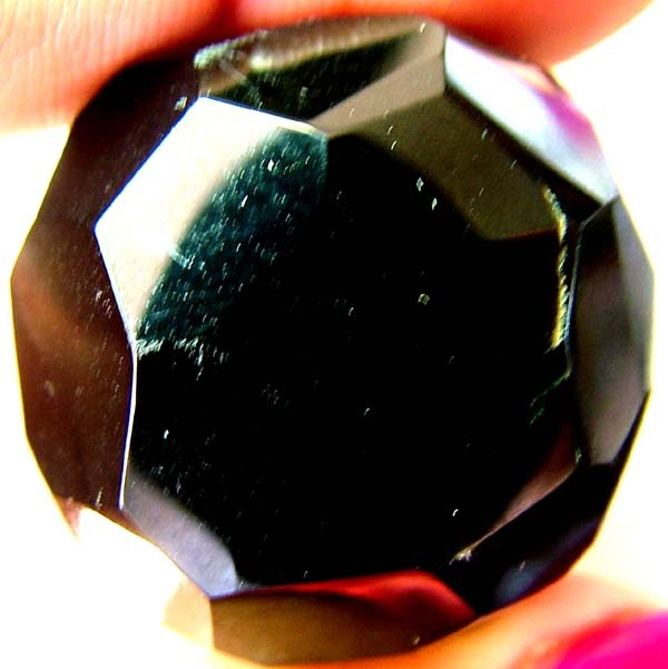 BLACK ONYX BEAD FACETED   129 CTS   AS-2143