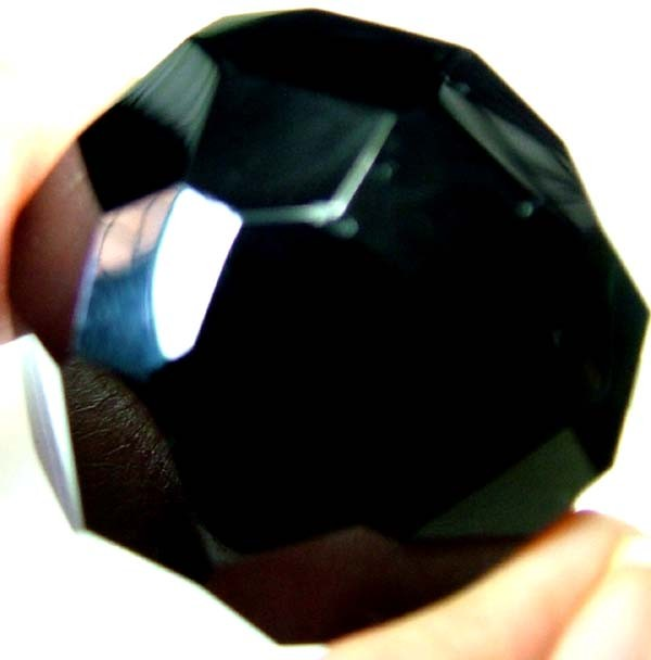 BLACK ONYX BEAD FACETED   124 CTS   AS-2158