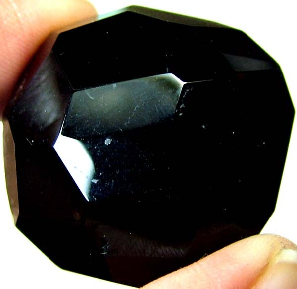 BLACK ONYX BEAD FACETED   120 CTS   AS-2160