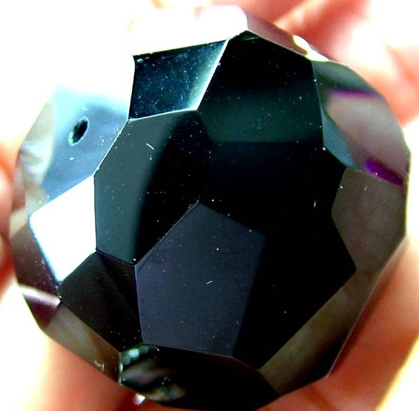 BLACK ONYX BEAD FACETED   142 CTS   AS-2166