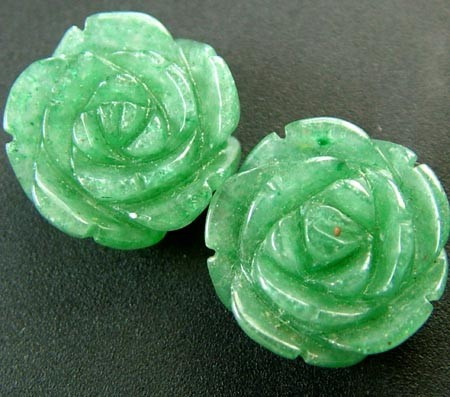 PAIR ADVENTURINE FLOWER CARVINGS-1/2 DRILLED 19.10CTS MX4783