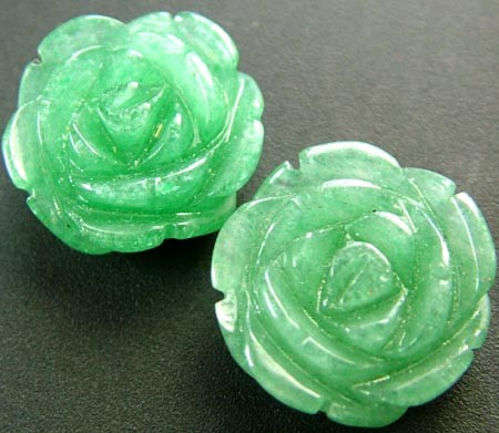 PAIR ADVENTURINE FLOWER CARVINGS-1/2 DRILLED 20.35CTS MX4787