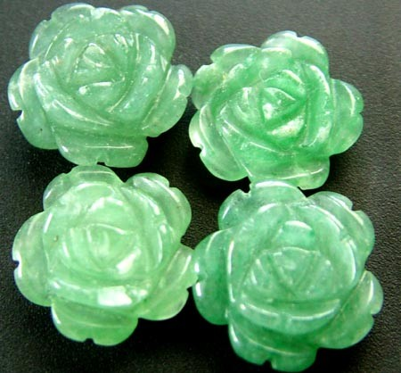 FOUR ADVENTURINE FLOWER CARVINGS-1/2 DRILLED 26.30CTS MX4790