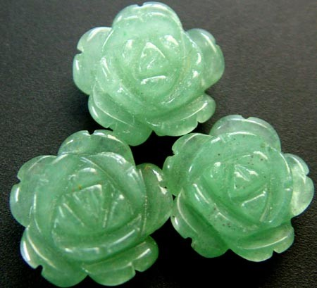 TREE ADVENTURINE FLOWER CARVINGS -1/2 DRILLED CTS [MX]