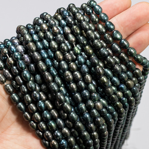 Freshwater Black Pearl  Strand with Peacock Luster