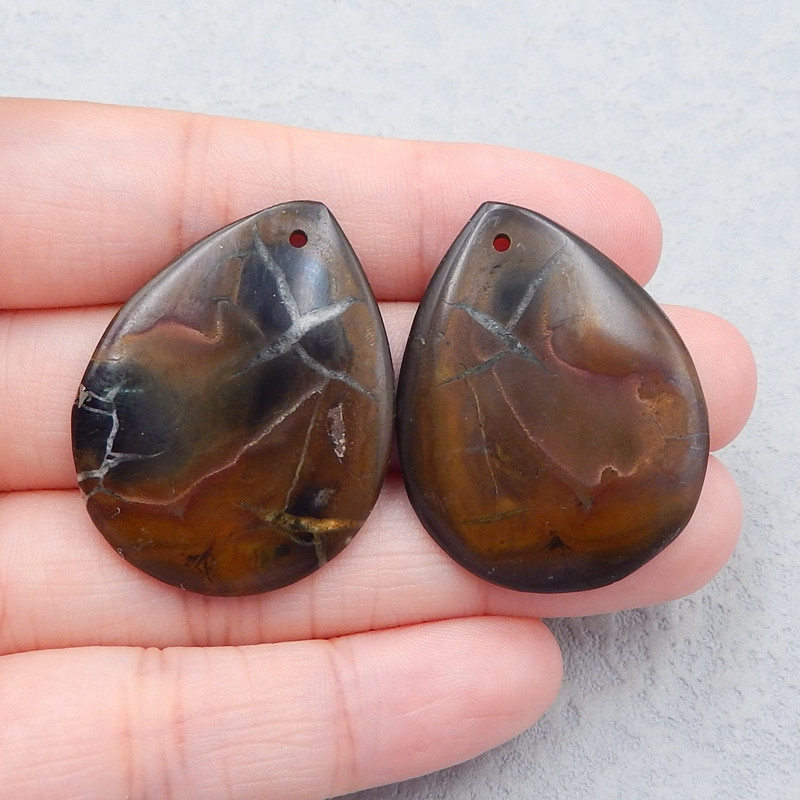 D2534 - 43cts Natural Septarian Gemstone Earrings Bead Pair, Waterdrop Earr