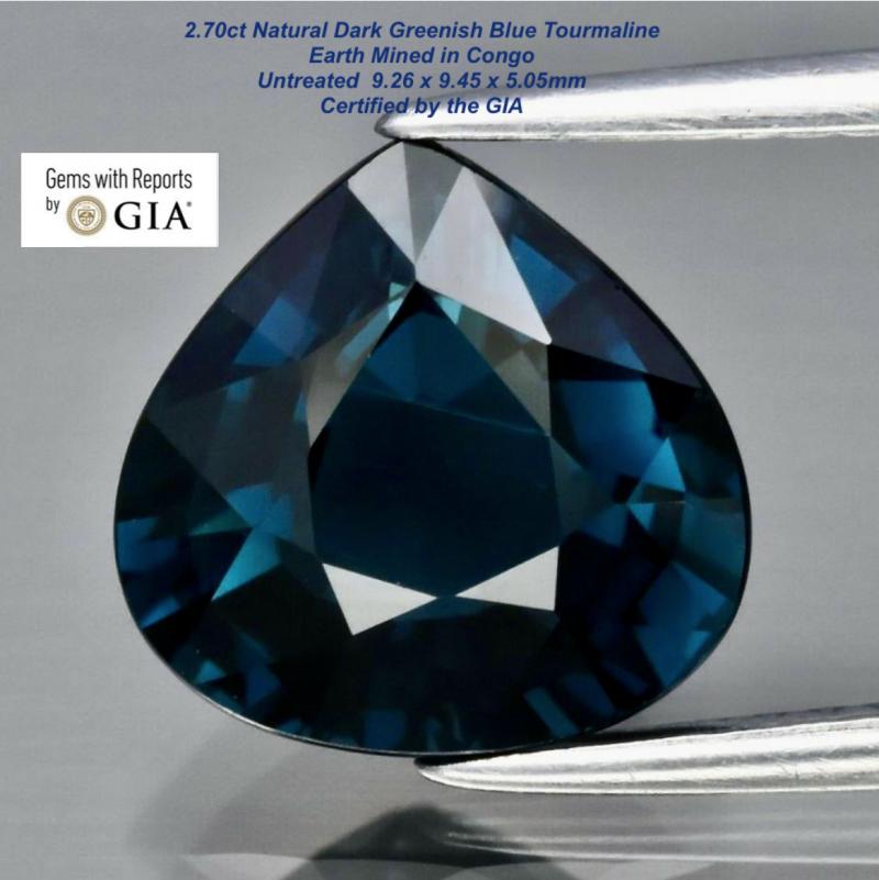 2.7ct GIA Tourmaline - Untreated / 9.26x9.445mm/ Certified