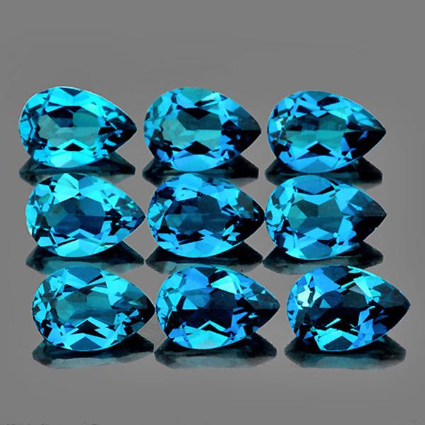 6x4 mm Pear 9 pcs 4.40cts London Blue Topaz [VVS]
