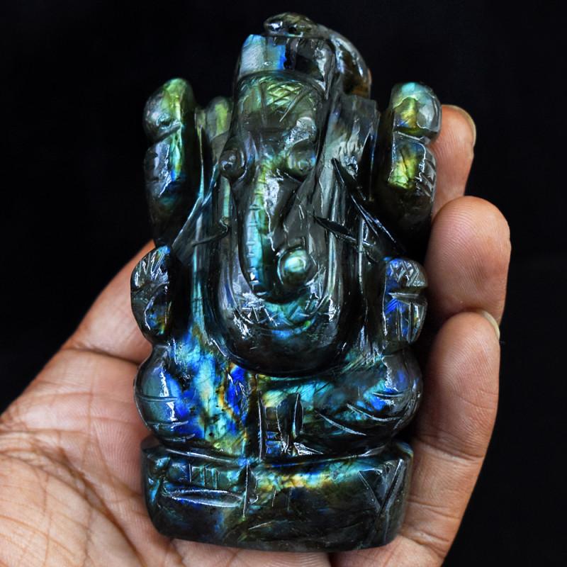 Genuine 895.00 Cts Golden & Blue Flash Labradorite Ganesha