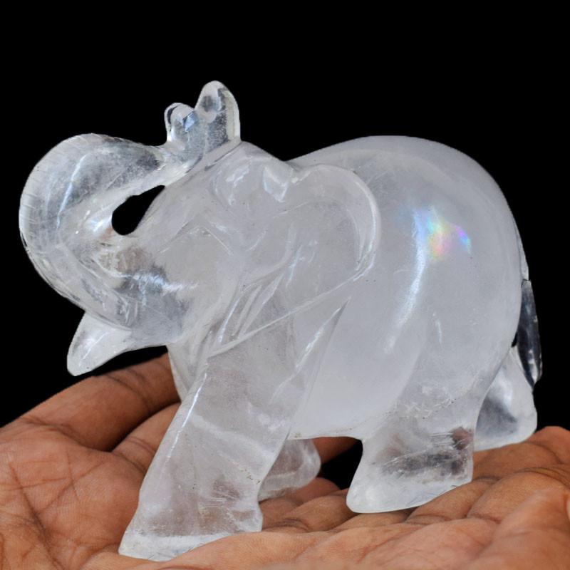 Genuine 2135.00 Cts White Quartz Carved Elephant