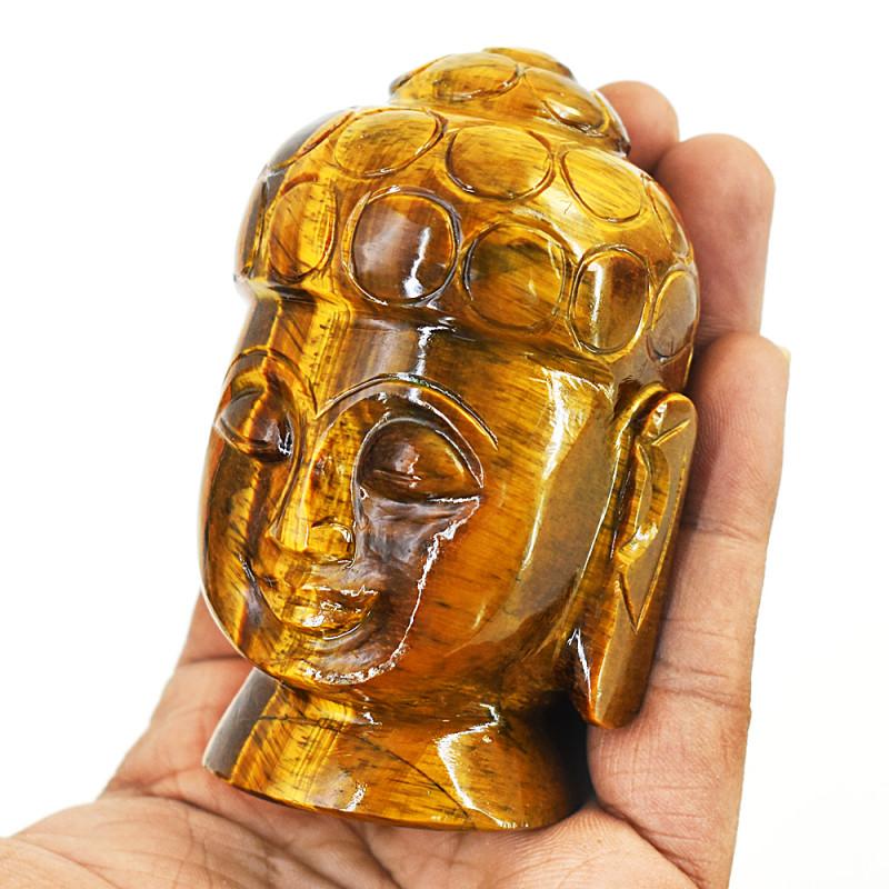 Genuine 1345.00 Cts Tiger Eye Carved Buddha Head