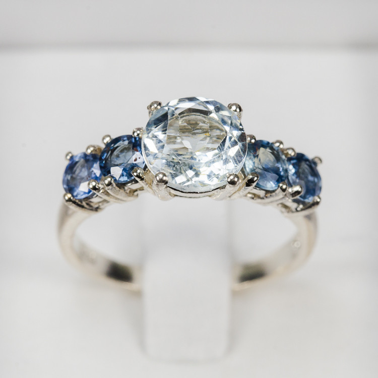 Size 7.5 Aquamarine With Blue Sapphire Sterling Silver Ring