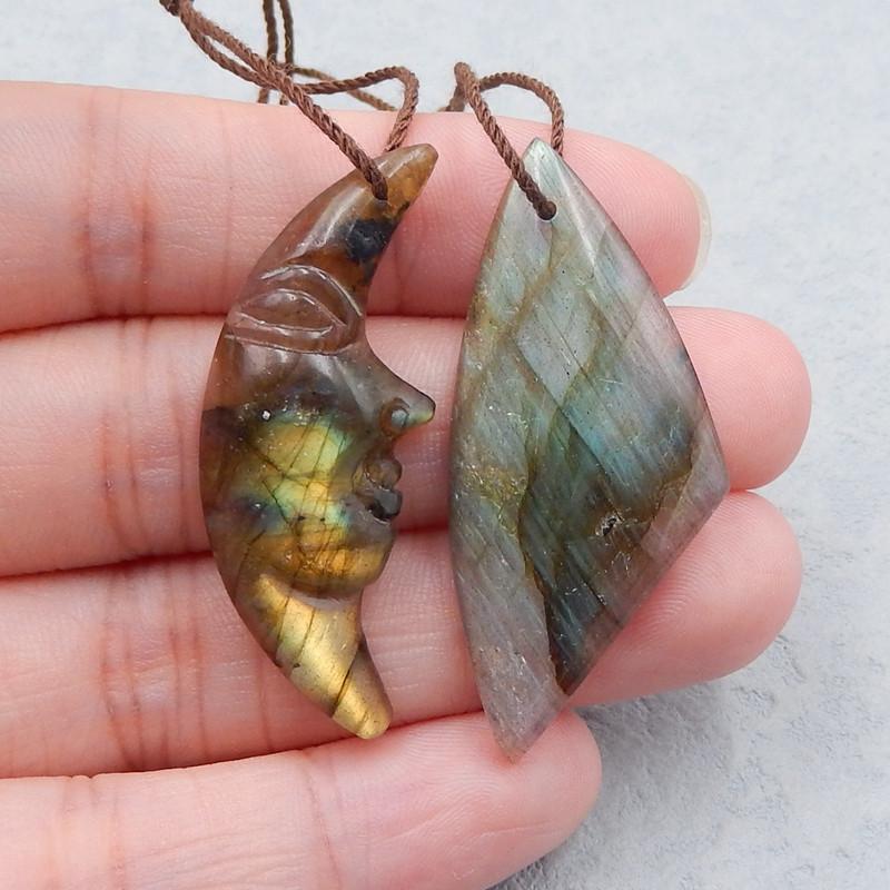 D2615 - 35cts 2pcs Special Natural Labradorite Pendant Bead,Handmade Gemsto