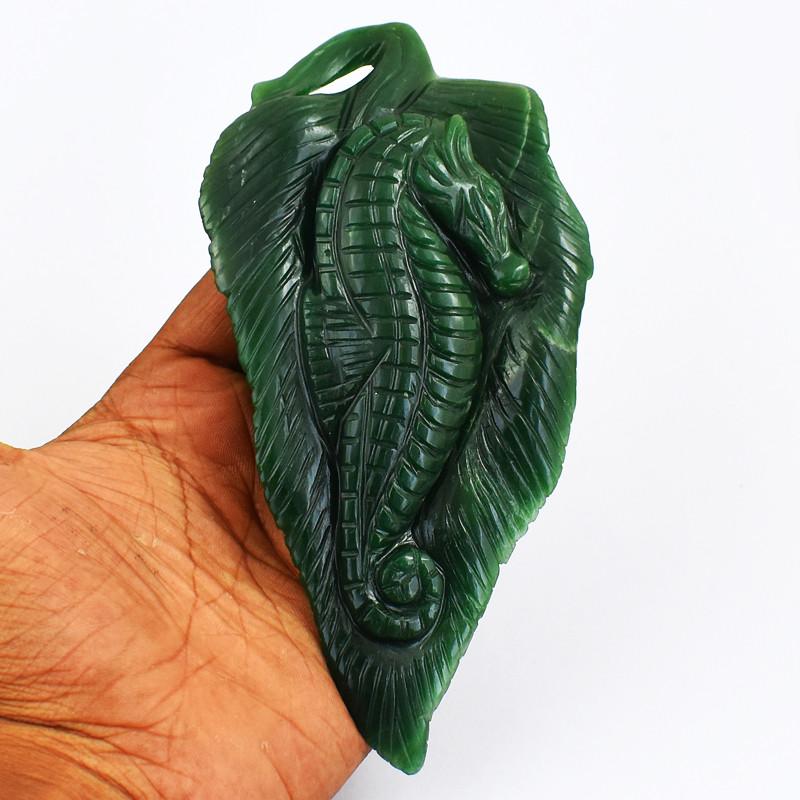 Genuine 979.00 Cts Green Jade Carved Seahorse In Leaf