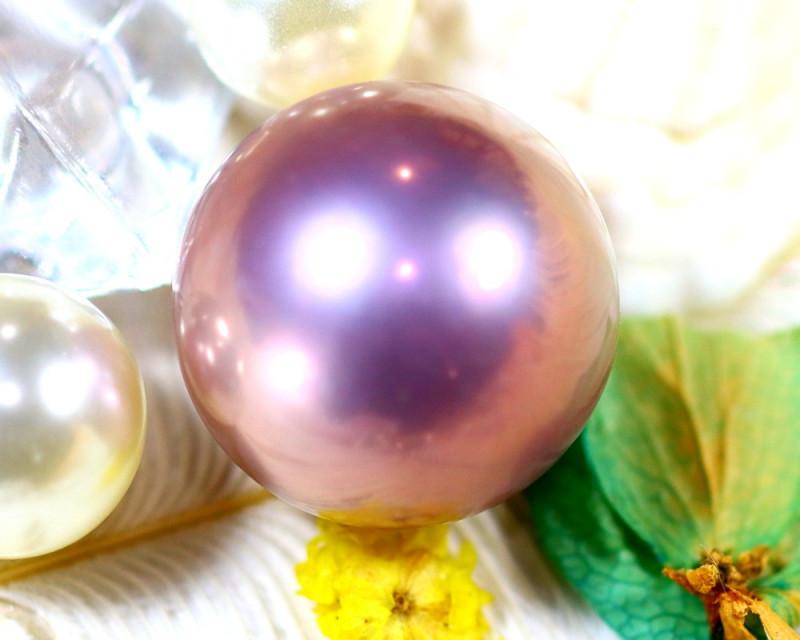 15.20MM 25.06Ct Natural Tahiti Light Aubergine Color Pearl ER612/A245