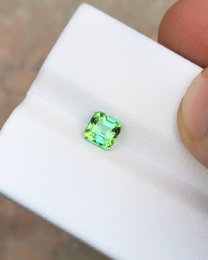 0.75 Ct Natural Green Transparent Tourmaline Ring Size Gemstone