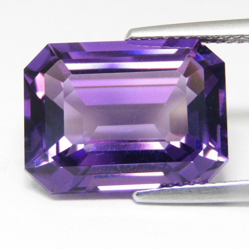 12.78Cts Calibrated Size Natural Amethyst 16x12mm Emerald Cut Loose Gem