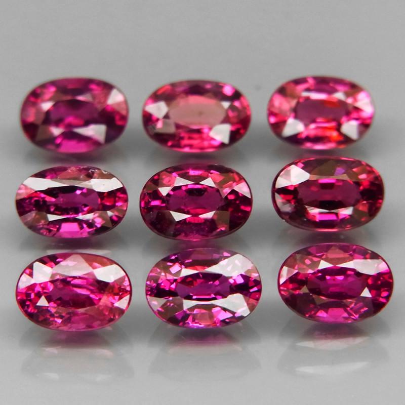 9Pcs/6.52Ct.Oval 6x4 mm.Ravishing Color Hot Pink Purple Rhodolite Garnet Af
