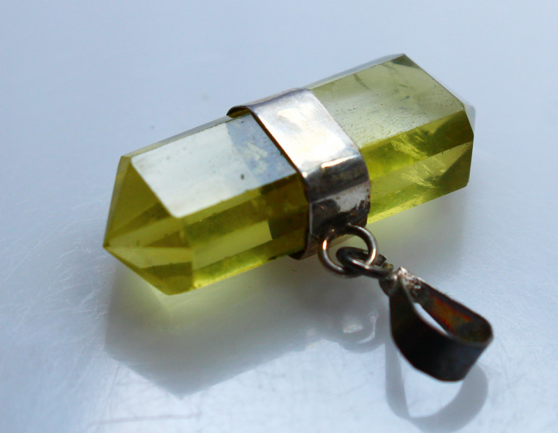 17.20 CTs Natural & Unheated~Yellow Citrine Crystal Pendant