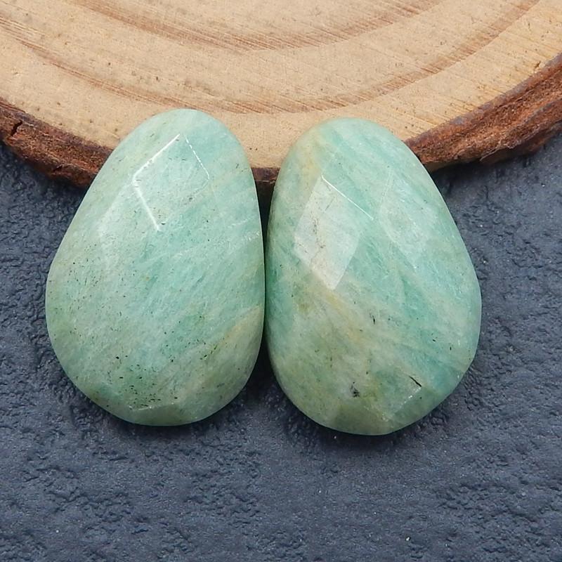 amazonite faceted cabochon pair