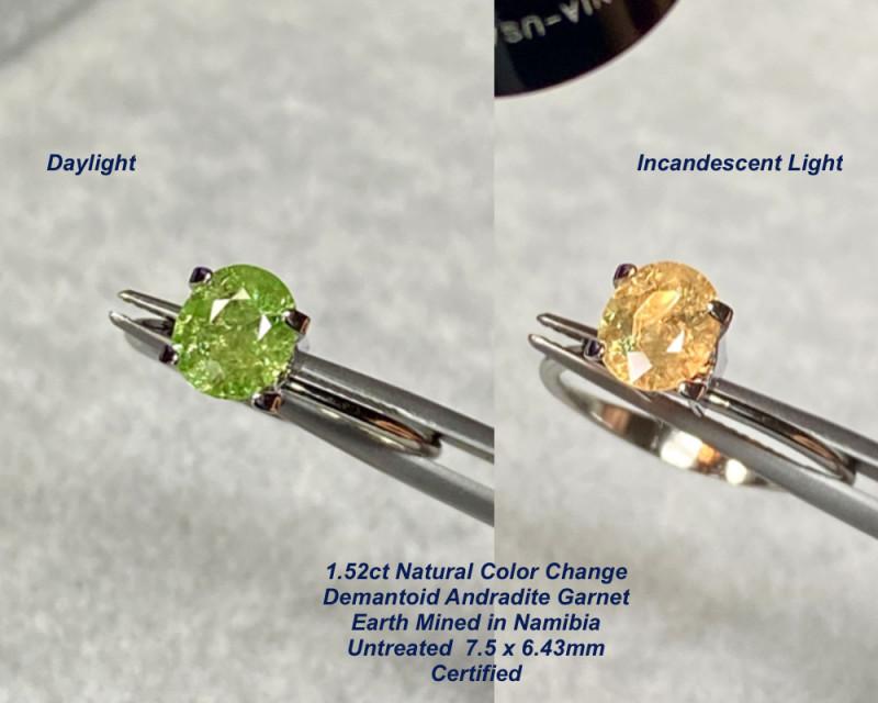 1.52ct Demantoid Andradite Garnet - Color Change / Madagascar /  7.50x 6.43