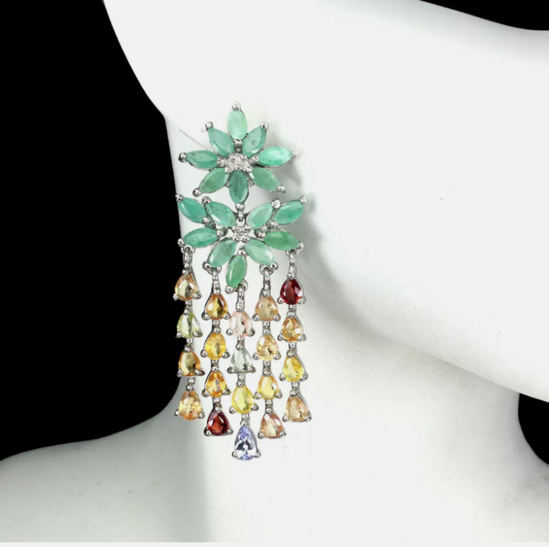 Astounding Nat 48.1tcw. Emerald Sapphire & CZ Earrings Untreated